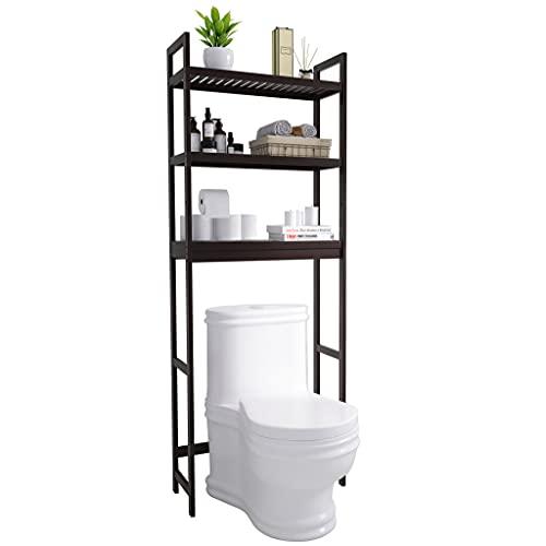 SMIBUY Estante de Almacenamiento para baño, Organizador de bambú sobre el Inodoro, Ahorro de Espacio para Inodoro Independiente con estantes Ajustables de 3 Niveles (marrón Oscuro)