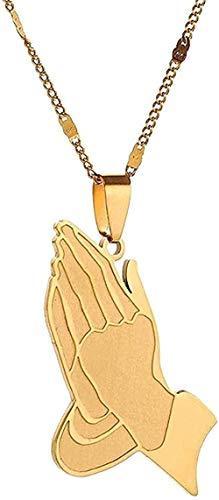 WYDSFWL Collar de Acero Inoxidable The Praying Hands Collares Pendientes Hip Hop Praying Hands Cadena de joyería para Mujeres Hombres Collar de Regalo