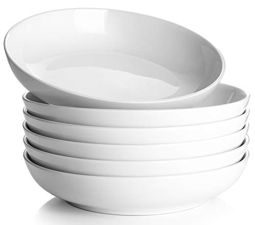 Y YHY 30 Ounces Porcelain Pasta, Salad, Soup Bowls, Large Serving Bowl Set, Wide and Flat, Set of 6, White
