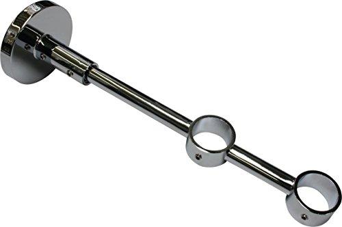 GARDINIA Doppelträger mit Metallmontageplatte für Gardinenstangen, 2-läufig, Geschlossen, Alle Montage-Teile inklusive, Serie Chicago, Durchmesser 20 mm, Chrom