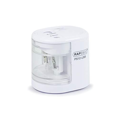 Rapesco PS12-USB temperamatite elettrico a due fori alimentato a pila o carica USB (bianco)