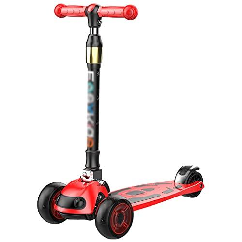 BIAOYU Scooter para niños a partir de 3 años con ruedas de flash, scooter para niños de 4 alturas, ruedas LED de PU extra anchas, scooter de 3 ruedas para niños