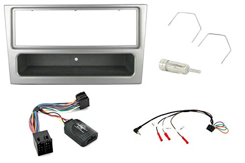 T1 Audio T1–CTKVX13–Vauxhall Agila 2000> G, Astra/Corsa/Meriva/Vivaro 2000, Omega B Kit de montage pour autoradio Façade/CT24VX02, CTSVX001 Adaptateur CT27AA01 CT22VX01, argenté, Panneau de commande au volant pour autoradio câble adaptateur antenne autoradio le retrait de clés.