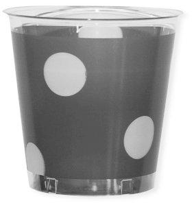 Exclusive Trade - Bicchieri in plastica trasparente con fascia decorata cc. 300 Pois argento