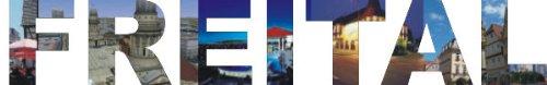 PEMA INDIGOS UG - Wandtattoo Wandsticker Wandaufkleber - Aufkleber farbige Wandschrift Städtename Städtename Freital mit Sehenswürdigkeiten 180 x 28 cm Länge