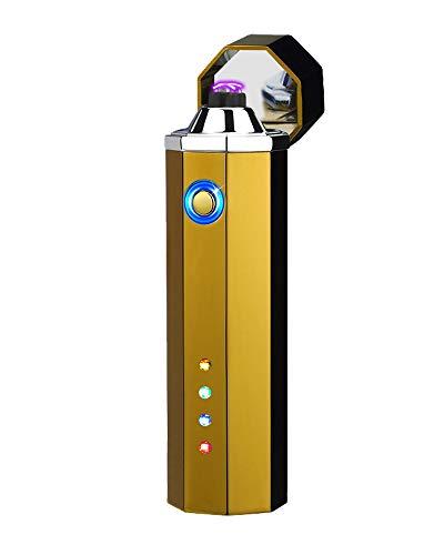 [WDMART] 電子ライター USBライター 充電ライター 葉巻ライター メタルライター 艾灸 艾条 ライター プラズマ放電式 防風 軽量 残りのバッテリーを示すLED (ゴールド)