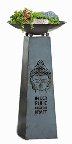 Metallständer Buddha Motiv komplett mit Schale Farbe Antik Silber Schalenständer mit Pflanzschale