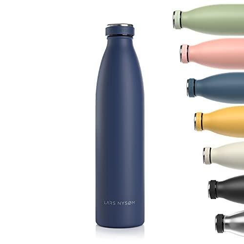 Lars NYSØM Borraccia Termica 1 litro in Acciaio Inox | Bottiglia isolata Senza BPA 1000ml | Bottiglia d'Acqua a Tenuta stagna per Sport, Bicicletta, Cane, Bambino, Bambini