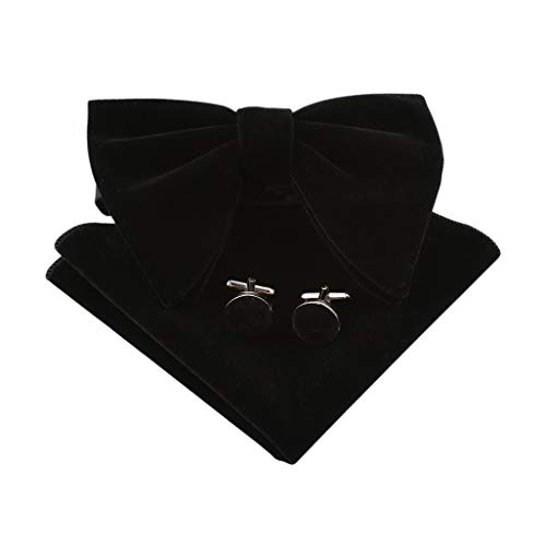 Lovacely Mens Oversized Velvet Bow Tie Vintage Tuxedo Big Bowtie and Pocket Square Cufflinks Set 250171 Black