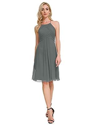 Alicepub Halter Chiffon Bridesmaid Dress Short Cocktail Formal Dresses for Women Party, Steel Gray, US12