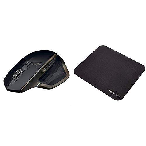 Logitech MX Master AMZ Mouse Wireless Bluetooth per Windows e Mac, Unifying e Bluetooth per Mac e Windows, Ricaricabile, Scroller Azionabile, Nero & Amazon Basics - Mini Tappetino per Mouse da Gioco