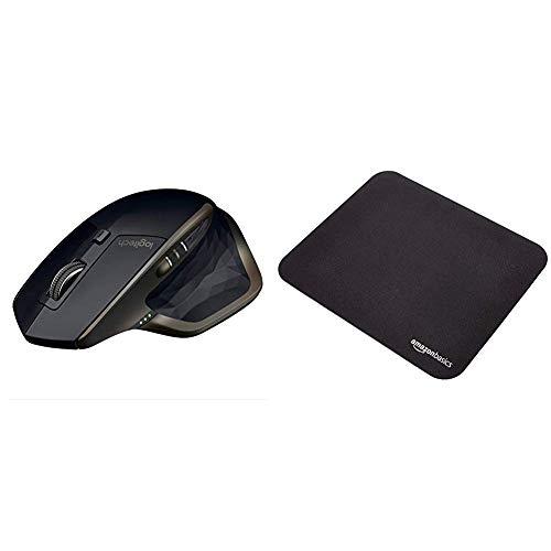 Logitech MX Master AMZ Mouse Wireless Bluetooth per Windows e Mac, Unifying e Bluetooth per Mac e Windows, Ricaricabile, Scroller Azionabile, Nero & AmazonBasics - Mini Tappetino per Mouse da Gioco