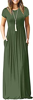 Dearcase Short Sleeve Loose Plain Maxi Casual Long Women's Dresses