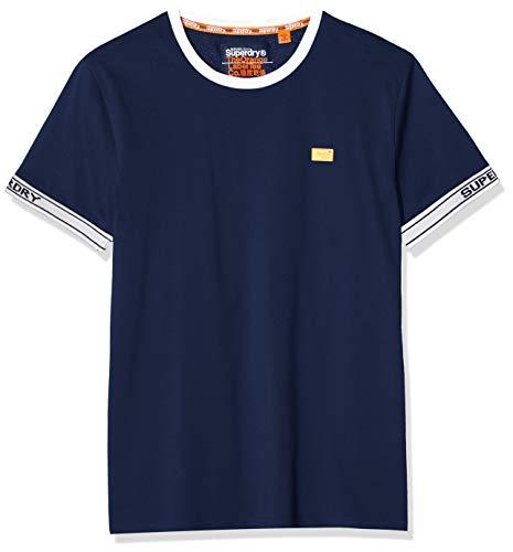 Superdry Herren OL Pique CALI Ringer Tee T-Shirt, Blau (Rich Navy ADQ), Medium