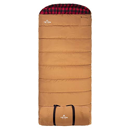 TETON Sports Deer Hunter Sleeping Bag; Warm and Comfortable Sleeping Bag Great for Camping Even in Cold Seasons; Brown, Right Zip, Brown / -35F / Right