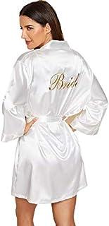 Letter Embroidered Self Belted Satin Bride Robe