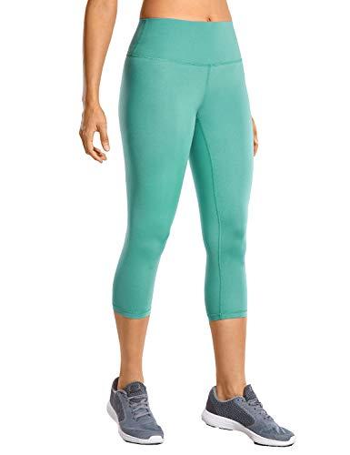 CRZ YOGA Mujer Compresión Mallas Largos Pantalones Deportivos Cintura Alta con Bolsillo-53cm Verde Azulado 36