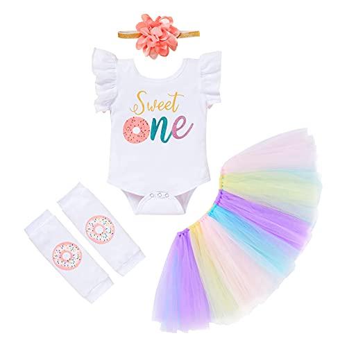 Conjunto de 4 piezas de ropa de vestir para bebés y niñas con volantes de tul+lentejuelas arco diadema+calentadores de piernas, blanco, 9-12 Meses