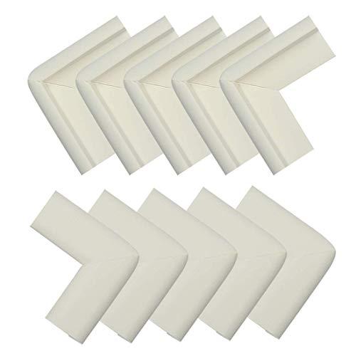 YeVhear - Lote de 10 unidades de espuma para muebles, mesa de oficina, borde de cobertura, almohadillas protectoras para esquinas y parachoques, guardabarros, 50 x 22 x 20 x 6 mm, color blanco