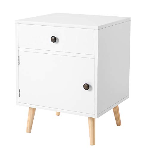 VASAGLE End Table, Particleboard, White