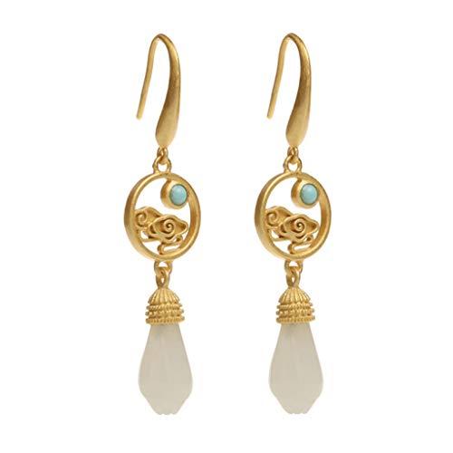 Pendientes de regalo de plata pura 925 chapado en oro con incrustaciones de jade Hetian Pendientes de mujer temperamento vintage de moda gota Pendientes de moda