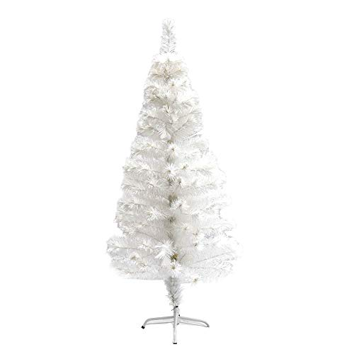 ALEKO CTLW47H170MC Fiber Optic Artificial Holiday Christmas Tree with Multicolored Lights 5 Foot White