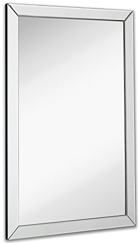 Large Flat Framed Wall Mirror with 2 Inch Edge Beveled Mirror Frame | Premium Silver Backed Glass Panel | Vanity, Bedroom, or Bathroom | Mirrored Rectangle Hangs Horizontal or Vertical (24