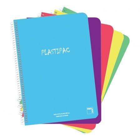 SAM - PACSA Paquete 5 LIBRETAS Folio con Tapa DE Polipropileno TRANSLUCIDO Serie PLASTIPAC 80 Hojas CUADRICULA 4X4 Papel 90GR Colores Surtidos