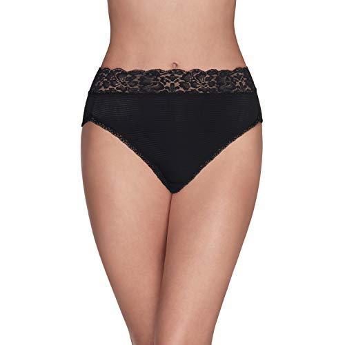 Vanity Fair womens Flattering Lace Panties With Stretch Briefs, Hi Cut - Nylon Black, Large US