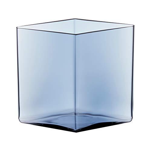 Iittala Ruutu Vase, Transparent Blau, 205x180mm