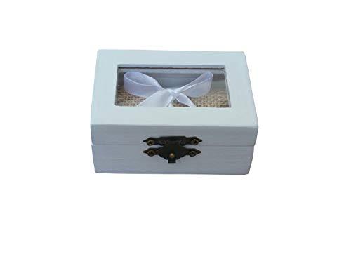 Caja alianzas, caja anillos compromiso,Caja anillos de boda color blanco con tapa transparente, arpillera y lazo blanco para sujetar los anillos. ideal para bodas rústicas