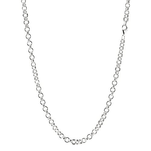 NKlaus Collar de plata de ley 925, cadena de ancla doble, redondo, collar de mujer, Plata esterlina,