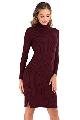 Enjoyoself Vestido a Punto Suéter Elegante para Mujer Suéter Cuello Alto para Mujer Pull-Over Tops Primavera Otoño