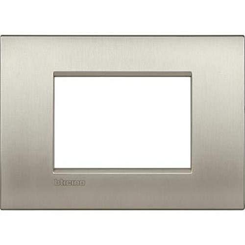 Bticino LNC4803TIS Placca Livinglight Air 3 Moduli, Titanio Spazzolato