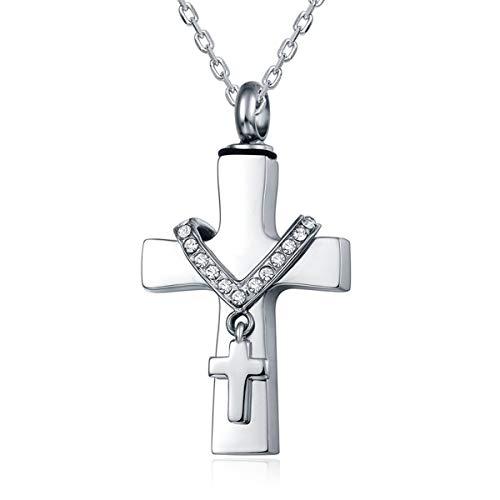 Quiges Edelstahl Memorial Cremation Urn Anhänger Esche Halter Kreuz mit Kreuz für Einäscherung mit verstellbare Halskette 46-52cm
