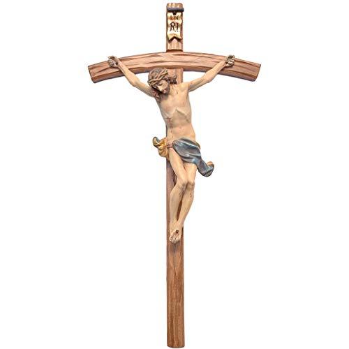 Holyart Crucifijo Cruz Curvada Corpus, Madera Valgardena Ant
