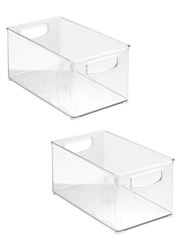 """2 x Clear Organizer Storage Bin with Handle Compatible with Kitchen I Best Compatible with Refrigerators, Cabinets & Food Pantry - 10"""" x 5"""" x 6"""""""