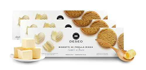 Deseo 3 Confezioni di Biscotti di frolla al Burro, Biscotti Classici Artigianali - 3 x 160g