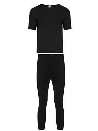 Pantalones térmicos largos para hombre, de manga larga, ropa interior perfecta para los días fríos de invierno Negro Negro ( X-Large Conjunto de manga larga