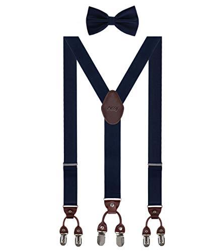 Aissy 3 Way to Wear Tirantes para hombre, 3,5 cm, forma de Y, elástico y longitud ajustable, tirantes anchos con 6 fuertes clips y pajarita Gblau K Talla única