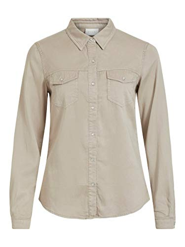 Vila Clothes VIBISTA Denim Shirt/SU-Noos Camisa, Simply Taupe, M para Mujer
