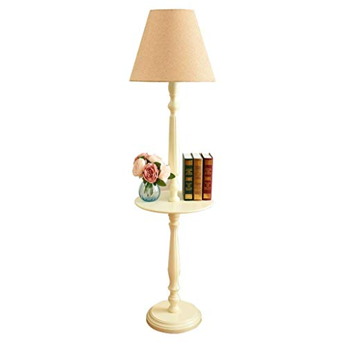 WLGQ Lámpara de pie Luz de Suelo Lámpara de pie de Madera Maciza Bandeja Mesa de Almacenamiento Europeo Americano Moderno Minimalista Retro Lámpara de pie Luz de Suelo (Color: Amarillo)