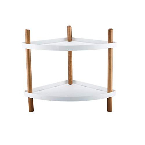 GXYAWPJ Zweischichtspeicher mit Rädern verfahrbare Gestell, verdickte Pp Massivholz-Material, Bottom Anti-Rutsch-Design (54x40x48.5cm) (Color : White)