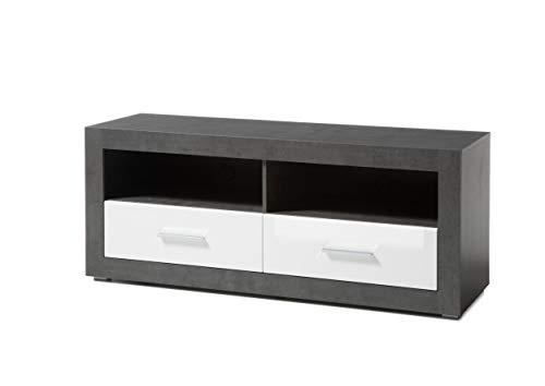 Newfurn TV Lowboard Modern TV kast TV tafel Rack Board II 150x61x 45 cm (BxHxD) II [Justus.Five] in beton donker/wit hoogglans woonkamer slaapkamer