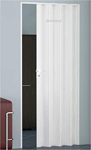 Porte coulissante pliante avec serrure et clé - Hauteur : 204 cm - Largeur dencastrement : 82 cm - Hauteur : 204 cm - Hauteur : 82 cm - Double paroi