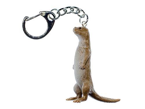 Miniblings Llavero de Otter Marten, hecho a mano, joyería de moda I Sea Otter Water Marten, beige de pie, cola recta, 48 mm, llavero colgante