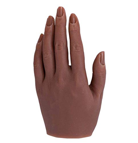 Practice Hand Training Manicure Hand Model,Makeup Nail Art Practice Model Tool Fake Hand Silicone Lifesize Bendable Fingers,E,Left