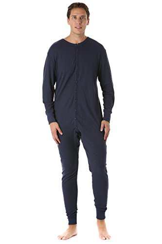 #followme 9393-NVY-XXL Men's Solid Thermal Henley Onesie Navy