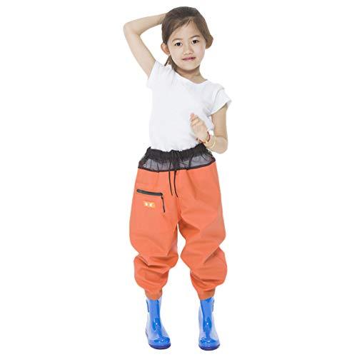 Jitong Waders de Pêche Enfants Salopette de Chasse Pantalon de Wading avec Bottes Imperméables Cuissardes de Pêche pour Garçons et Filles - Orange, 33 (20.5cm)