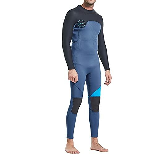 Traje De Neopreno De Cuerpo Entero para Hombre, Traje De Buceo De Manga Larga De Neopreno para Hombre De 3 Mm para Pesca Submarina, Snorkel, Surf, Piragüismo (Color : Blue, Size : 3XL)